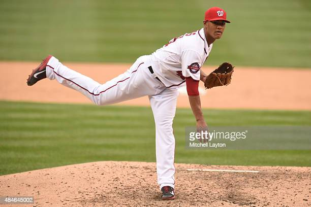 Joe Ross of the Washington Nationals pitches during a baseball game against the Arizona Diamondbacks at Nationals Park at on August 6 2015 in...