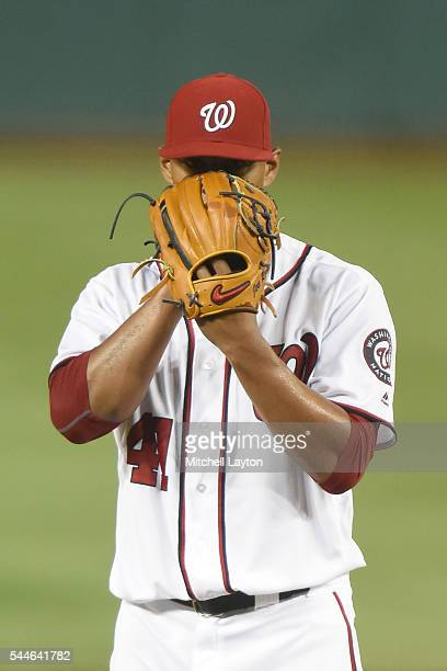 Joe Ross of the Washington Nationals pitches during a baseball game against the New York Mets at Nationals Park on June 27 2016 in Washington DC The...