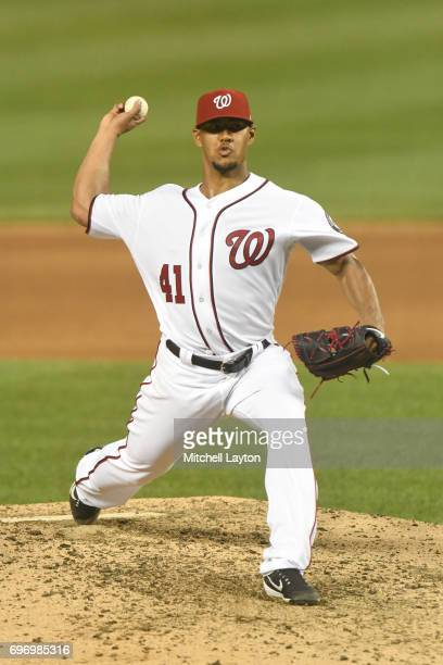 Joe Ross of the Washington Nationals pitches during a baseball game against the Atlanta Braves at Nationals Park on June 13 2017 in Washington DC The...