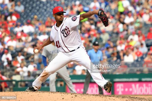 Joe Ross of the Washington Nationals pitches during a baseball game against the Chicago Cubs at Nationals Park on June 29 2017 in Washington DC The...