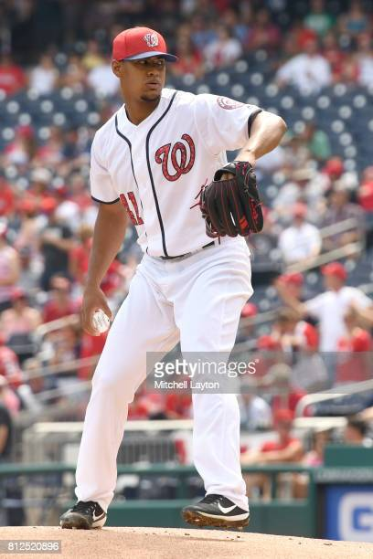 Joe Ross of the Washington Nationals pitches during a baseball game against the New York Mets at Nationals Park on July 4 2017 in Washington DC The...