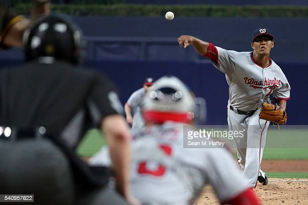 Joe Ross of the Washington Nationals pitches during the first inning of a baseball game against the San Diego Padres at PETCO Park on June 17 2016 in...