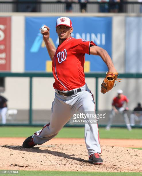 Joe Ross of the Washington Nationals pitches during the Spring Training game against the Detroit Tigers at Publix Field at Joker Marchant Stadium on...