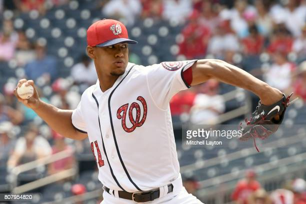 Joe Ross of the Washington Nationals pitches in the first inning during a baseball game against the New York Mets at Nationals Park on July 4 2017 in...