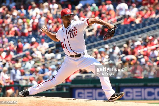 Joe Ross of the Washington Nationals pitches in the first inning during a baseball game against the Atlanta Braves at Nationals Park on July 9 2017...