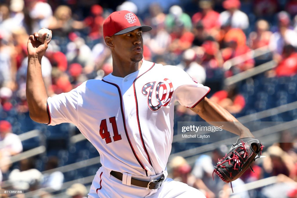 Joe Ross #41 of the Washington Nationals pitches in the first inning during a baseball game against the Atlanta Braves at Nationals Park on July 9, 2017 in Washington, DC.