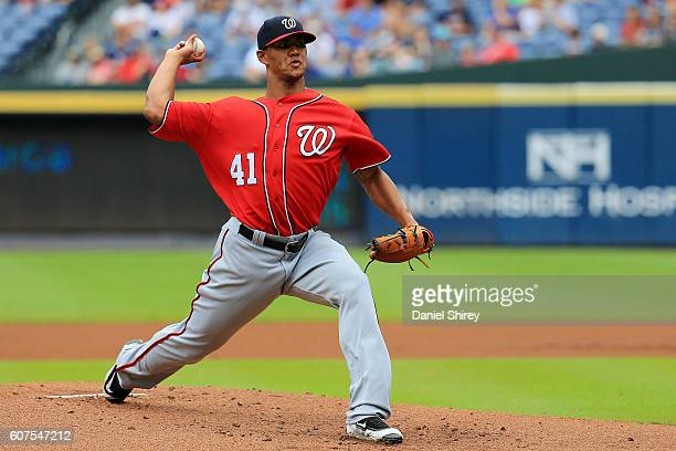 Joe Ross of the Washington Nationals pitches in the first inning against the Atlanta Braves at Turner Field on September 18 2016 in Atlanta Georgia