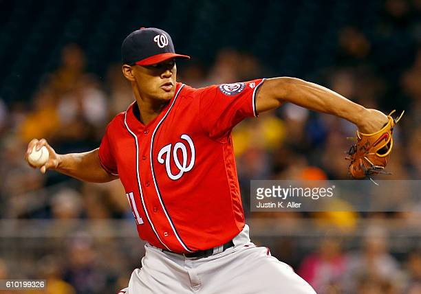 Joe Ross of the Washington Nationals pitches in the first inning during the game against the Pittsburgh Pirates at PNC Park on September 24 2016 in...