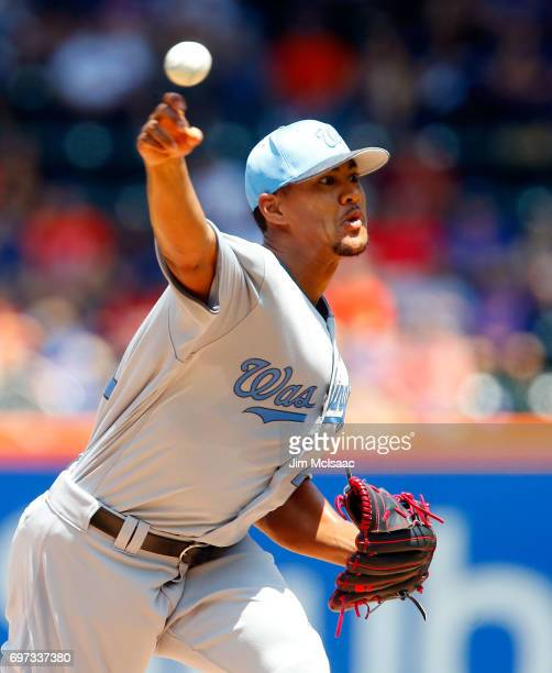 Joe Ross of the Washington Nationals pitches in the first inning against the New York Mets at Citi Field on June 18 2017 in the Flushing neighborhood...