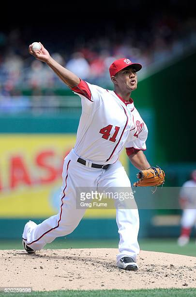 Joe Ross of the Washington Nationals pitches in the second inning against the Miami Marlins at Nationals Park on April 10 2016 in Washington DC