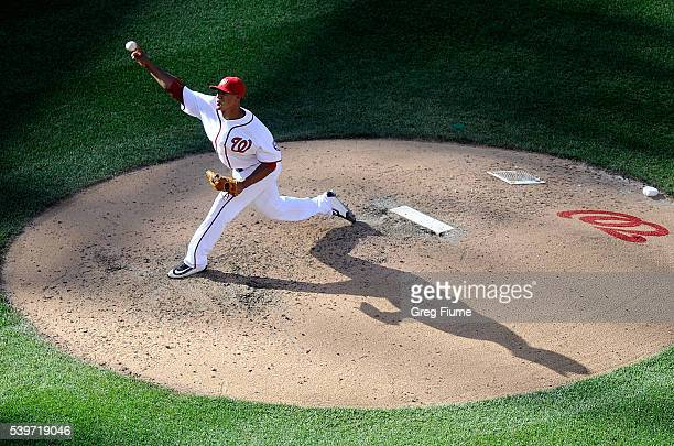 Joe Ross of the Washington Nationals pitches in the seventh inning against the Philadelphia Phillies at Nationals Park on June 12 2016 in Washington...