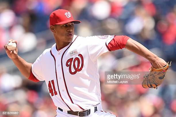 Joe Ross of the Washington Nationals pitches in the third inning during a baseball game against the Miami Marlins at Nationals Park on May 15 2016 in...