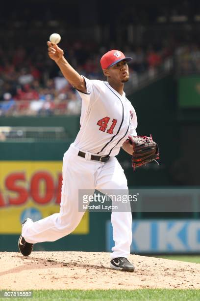 Joe Ross of the Washington Nationals pitches in the third inning during a baseball game against the New York Mets at Nationals Park on July 4 2017 in...