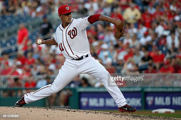 Joe Ross of the Washington Nationals pitches to a New York Mets batter in the third inning at Nationals Park on July 21 2015 in Washington DC