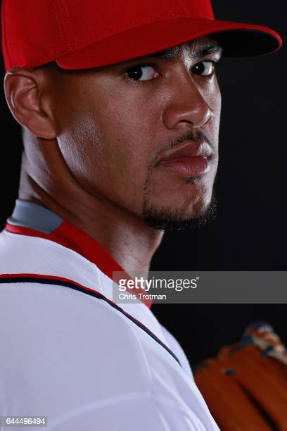 Joe Ross of the Washington Nationals poses for a portrait during Washington Nationals Photo Day at The Ballpark of the Palm Beaches on February 23...