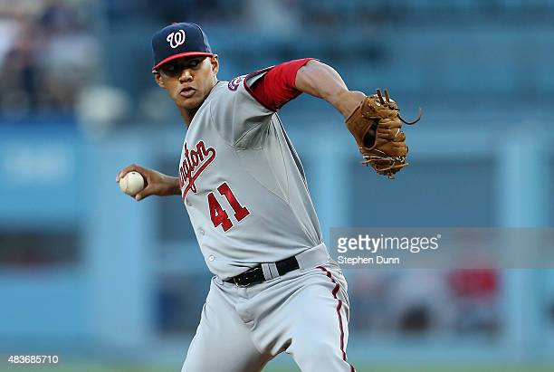 Joe Ross of the Washington Nationals throws a pitch against the Los Angeles Dodgers at Dodger Stadium on August 11 2015 in Los Angeles California
