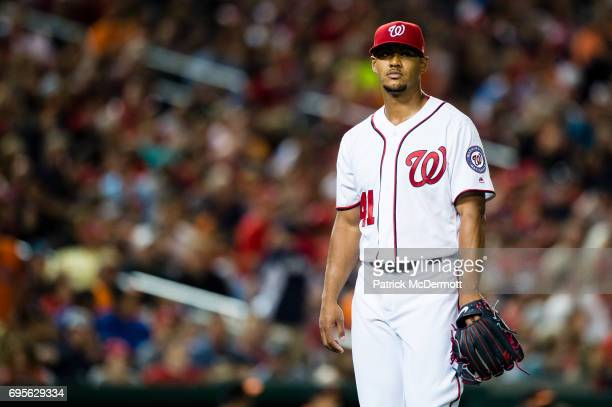 Joe Ross of the Washington Nationals walks back to the dugout in the sixth inning during a game against the Baltimore Orioles at Nationals Park on...