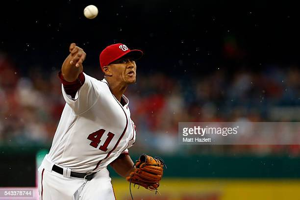 Joe Ross of the Washington Nationals works in the first inning against the New York Mets at Nationals Park on June 27 2016 in Washington DC