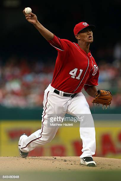 Joe Ross of the Washington Nationals works in the first inning against the Cincinnati Reds at Nationals Park on July 2 2016 in Washington DC