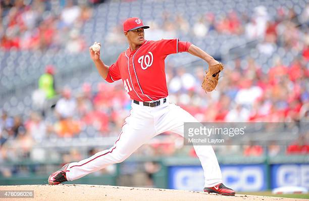 Joe Ross the Washington Nationals pitches during a baseball game against the Chicago Cubs at Nationals Park on June 6 2015 in Washington DC