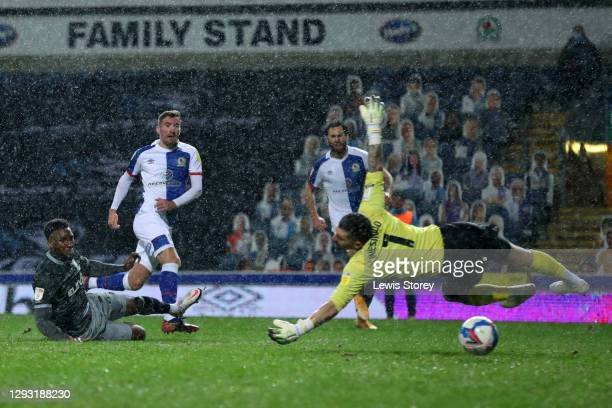 Joe Rothwell of Blackburn Rovers scores their team's first goal during the Sky Bet Championship match between Blackburn Rovers and Sheffield...