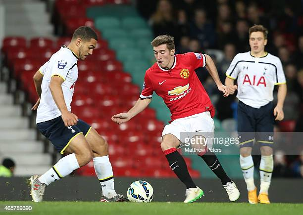 Joe Rothwell of Manchester United U21s in action with Cameron Carter-Vickers of Tottenham Hotspur U21s during the Barclays U21 Premier League match...