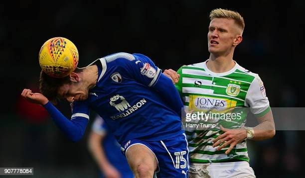 Joe Rowley of Chesterfield challenges for the ball with Sam Sturridge of Yeovil Town during the Sky Bet League Two match between Yeovil Town and...