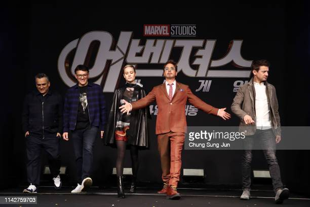 Joe Russo Anthony Russo Brie Larson Robert Downey Jr and Jeremy Renner attend the press conference for Marvel Studios' 'Avengers Endgame' South Korea...