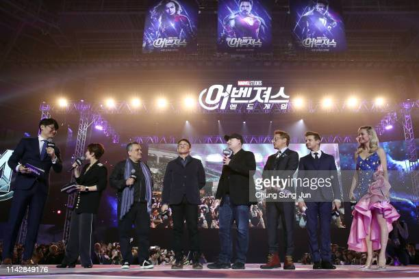 Joe Russo Anthony Russo Kevin Feige Robert Downey Jr Jeremy Renner and Brie Larson attend the fan event for Marvel Studios' 'Avengers Endgame' South...