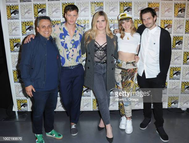 Joe Russo Bill Skarsgard Hari Nef Suki Waterhouse and Sam Levinson pose during the Assassination Nation panel with the cast and the Russo Brothers...