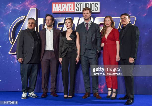 Joe Russo Paul Rudd Scarlett Johansson Chris Hemsworth Trinh Tran and Anthony Russo attend the UK Fan Event to celebrate the release of Marvel...