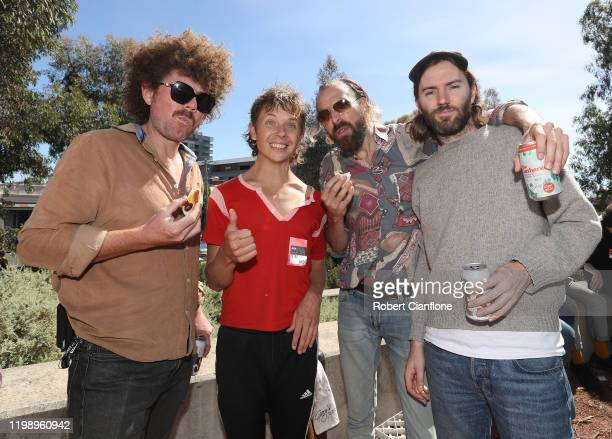 Joe Ryan, Nick Allbrook, James Ireland and Jamie Perry of the band Pond attend 'Grill for Good' on January 12, 2020 in Melbourne, Australia. The...