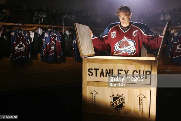 Joe Sakic of the Colorado Avalanche poses for an NHL Productions shoot on May 3 2006 in Denver Colorado