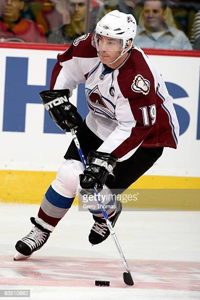 Joe Sakic of the Colorado Avalanche skates against the Calgary Flames on October 28 2008 at Pengrowth Saddledome in Calgary Alberta Canada The Flames...