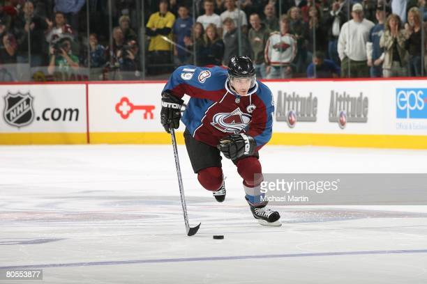 Joe Sakic of the Colorado Avalanche skates against the Minnesota Wild at the Pepsi Center on April 6 2008 in Denver Colorado Avalanche defeated the...
