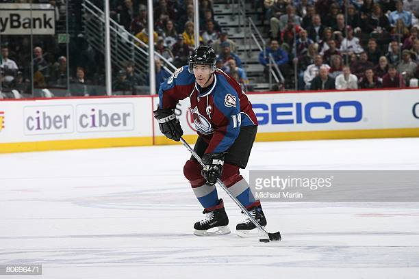 Joe Sakic of the Colorado Avalanche skates against the Minnesota Wild during game four of the Western Conference Quarterfinals of the 2008 NHL...