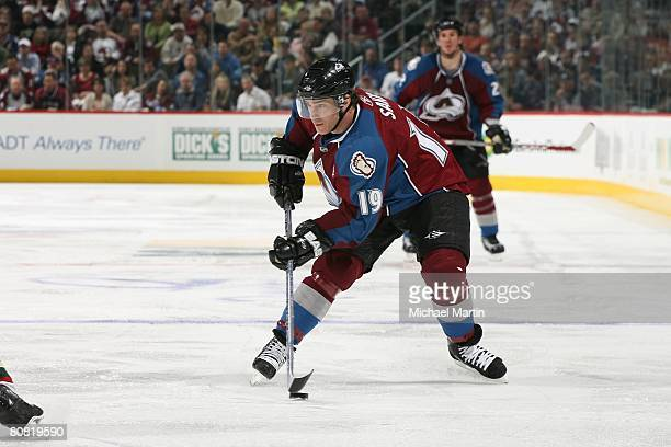 Joe Sakic of the Colorado Avalanche skates against the Minnesota Wild during game six of the Western Conference Quarterfinals of the 2008 NHL Stanley...