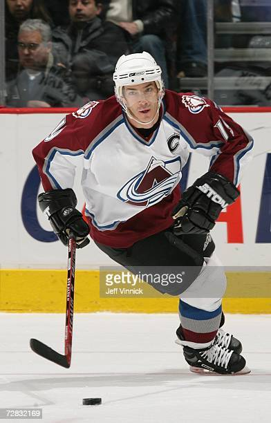 Joe Sakic of the Colorado Avalanche skates against the Vancouver Canucks during their NHL game at General Motors Place on December 2 2006 in...