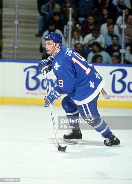 Joe Sakic of the Quebec Nordiques skates on the ice during an NHL game against the New York Islanders on March 24 1994 at the Nassau Coliseum in...