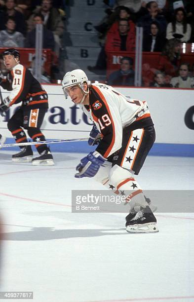 Joe Sakic of the Wales Conference and the Quebec Nordiques skates on ice during the 1993 44th NHL All-Star Game against the Campbell Conference on...