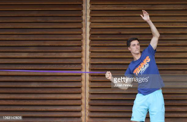 Joe Salisbury of British Bulldogs warms up during day six of the St. James's Place Battle of The Brits Team Tennis at National Tennis Centre on...