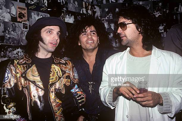 Joe Satriani Steve Salas and Billy Squire backstage at the Beacon Theatre in New York City on March 27 1990