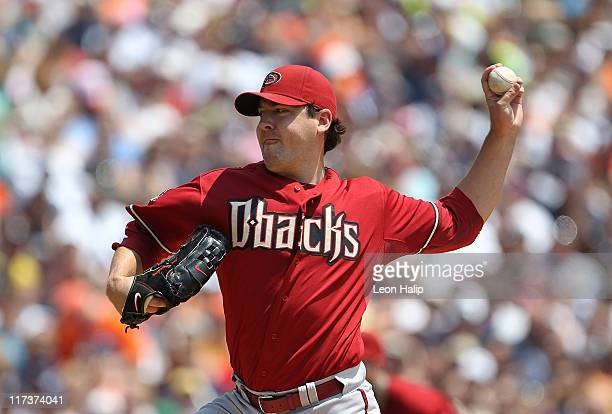 Joe Saunders of the Arizona Diamondback pitches in the second inning during the game against the Detroit Tigers at Comerica Park on June 26 2011 in...