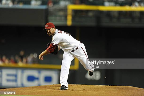 Joe Saunders of the Arizona Diamondbacks delivers a pitch against the Colorado Rockies at Chase Field on July 24 2012 in Phoenix Arizona