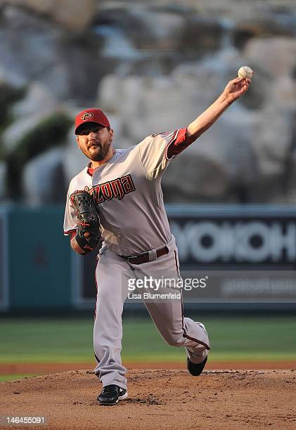 Joe Saunders of the Arizona Diamondbacks pitches against the Los Angeles Angels of Anaheim at Angel Stadium of Anaheim on June 16 2012 in Anaheim...