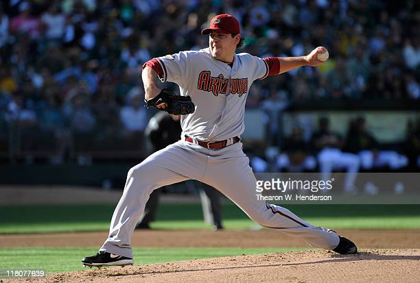 Joe Saunders of the Arizona Diamondbacks pitches against the Oakland Athletics in the bottom of the first inning of a MLB baseball game July 2 2011...