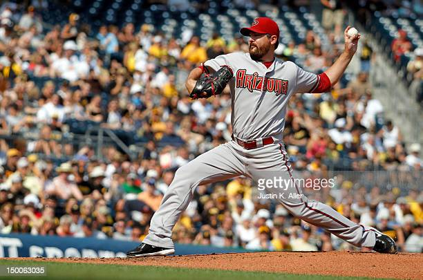 Joe Saunders of the Arizona Diamondbacks pitches against the Pittsburgh Pirates during the game on August 9 2012 at PNC Park in Pittsburgh...