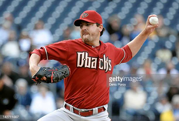 Joe Saunders of the Arizona Diamondbacks pitches during the first inning of a baseball game against the San Diego Padres at Petco Park on April 11...