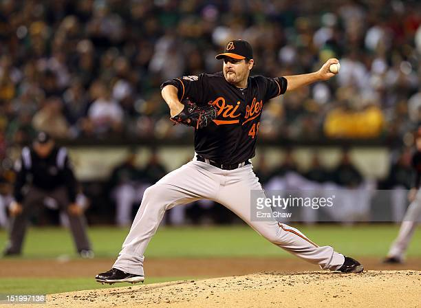 Joe Saunders of the Baltimore Orioles pitches against the Oakland Athletics at Oco Coliseum on September 14 2012 in Oakland California
