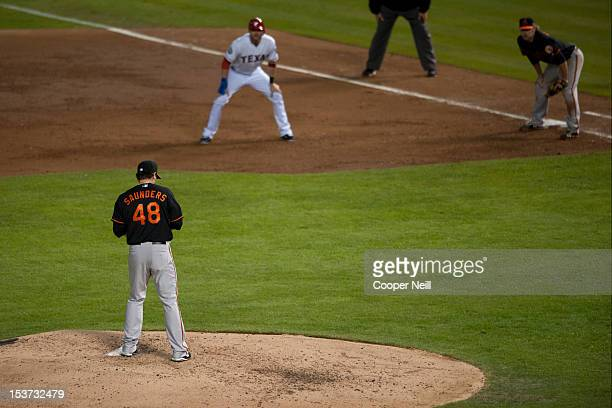 Joe Saunders of the Baltimore Orioles pitches during the American League Wild Card game against the Texas Rangers on October 5 2012 at the Rangers...